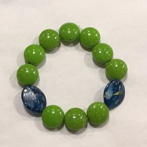 Green blue stretch bracelet